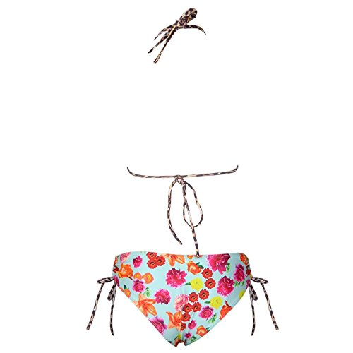 Pzz Mujer Sexy bañadores de Halter Push Up Impresión Conjuntos de Tankini sin cables Rosa