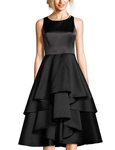 Tiered Satin Dress Black - 4