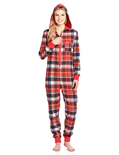 Ashford & Brooks Women's Flannel Hooded One Piece Pajama Union Jumpsuit - Sunset - 4X-Large -