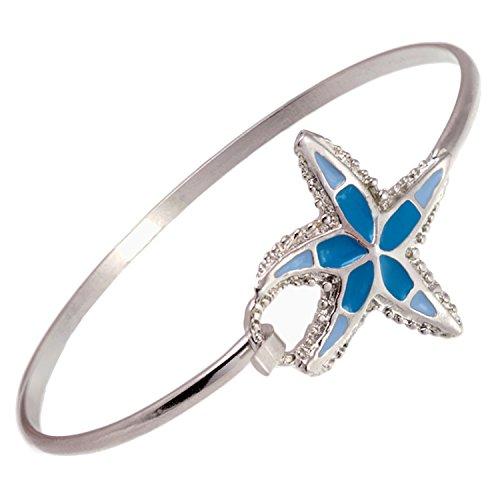 Cape Cod Jewelry-CCJ Starfish with Aqua Inlay Latch Cuff Bracelet