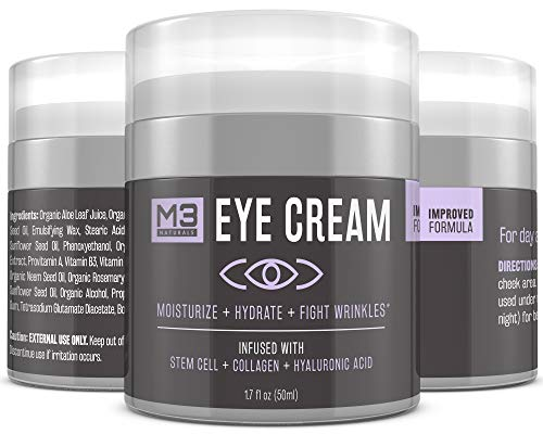 413dx2gT0lL - M3 Naturals Eye Cream Infused with Collagen Stem Cell and Hyaluronic Acid for Puffiness Wrinkles Dark Circles Under Eye Bags Fine Lines Anti Aging Treatment Healthy Skin Care Moisturizer