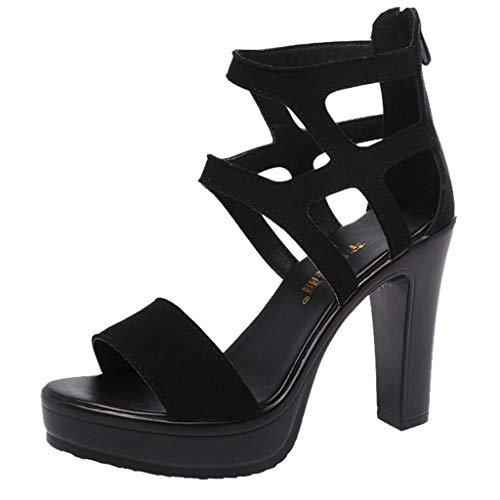 Cut Out Ankle Boots Peep Toe Platform Strappy High Heel Party Prom Pumps Sandals Women (Black -1, -