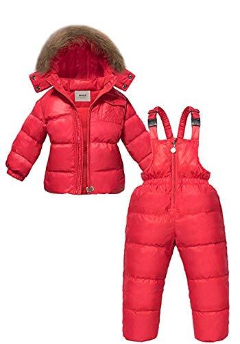 rouge XL RSTJ-Sjc Filles Hiver Combinaison de Neige, Date pour Enfants Filles Ensembles de vêteHommests Hiver Capuche Capuche Duvet de Canard Veste Pantalon de Neige vêteHommests Chauds