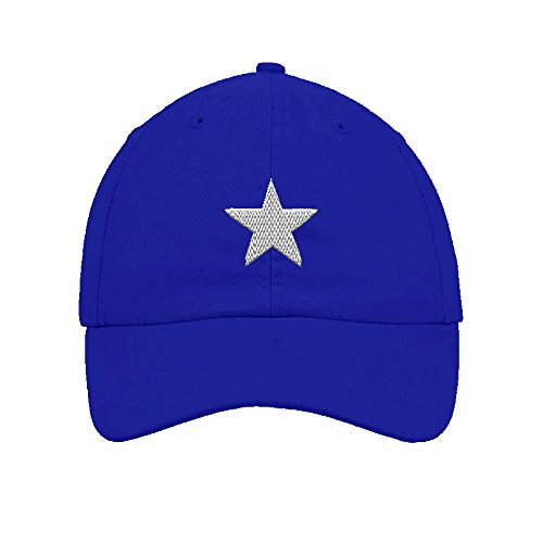 Bonnie Flag Star Embroidery Twill Cotton 6 Panel Low Profile Hat Royal Blue (Multi Star Eyelet)