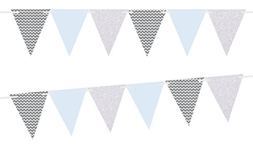 Grey Chevron/Solid Light Blue/White Glitter 10ft Vintage Pennant Banner Paper Triangle Bunting Flags for Weddings, Birthdays, Baby Showers, Events & Parties (Grey Pennant)