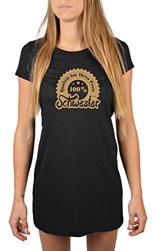 Schwester Sprüche Damen Longshirt / Nachtshirt : 100% Schwester -- Nachthemd / Schlafshirt Geschenk Schwester Farbe: schwarz Schwarz eb1OJocVv