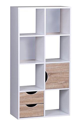 1Plus Bibliothèque Avec Tiroirs Et Porte Large Blanc De Sonoma