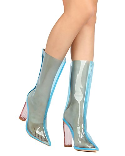 CAPE ROBBIN FH97 Women Mid-Calf Pointy Toe Lucite Cicrular Heel Boot - Blue e9CsdMJ