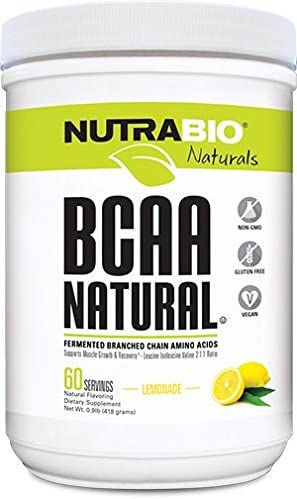 NutraBio BCAA Natural Fermented Branched Chain Amino Acids- Lemonade 60 Servings