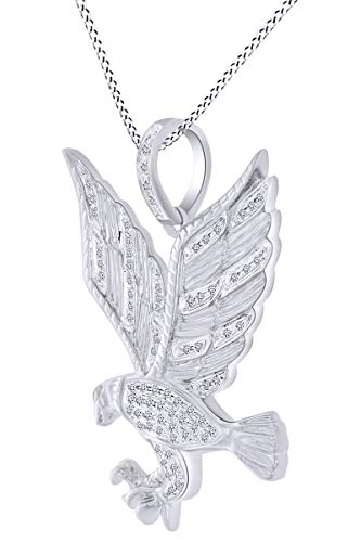 0.27 Carat Round Shape White Natural Diamond Eagle Pendant Necklace 10K Solid White ()
