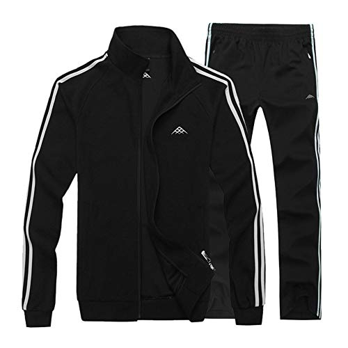 LBL Men's Slim Fit Jogging Baseball Sweat Suits Casual Jumping Sports Tracksuits Black L ()