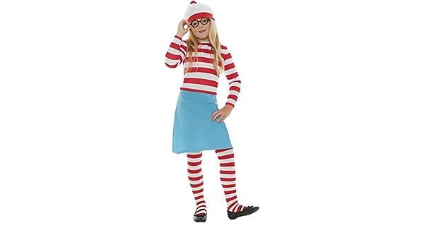 Niña Infantil Dónde Está Wally Wenda Disfraz Plus Medias Y Gafas ...