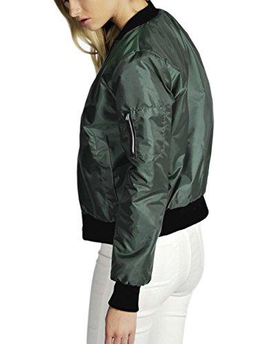 Chaqueta Cortocircuito de Tops de Adelgazan Jacket Blazer Chaquetas Nuevas Verde de Abrigos Motorista Soft Cremallera Las Motocicleta oscuro Mujeres la la la q7wWz