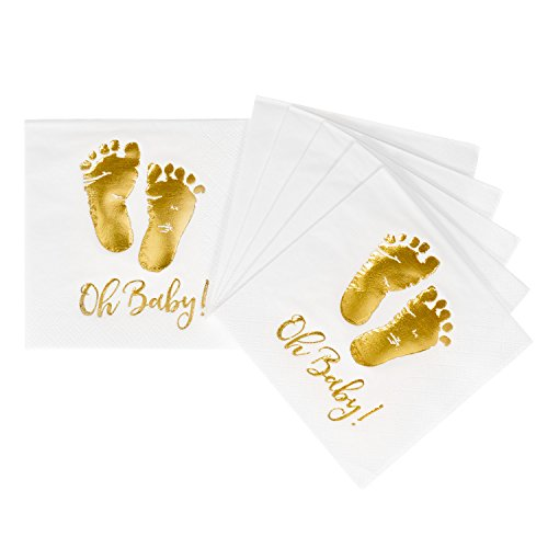 Crisky 100 Pcs Baby Shower Napkins Oh Baby ! Beverage Napkins 3-Ply Gold Foil Feet Candy Buffet Napkins for Boy and Girl Baby Shower Decor ()