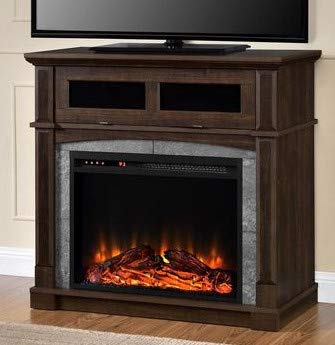 Tv Stand With Fireplace-Space Heaters for Indoor Use- Cherry Brown Wood Glass for Up to 32 Inch - Turn Up The Ambiance of Your Room ()