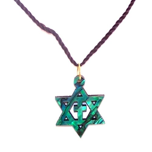 (Messianic Star of David with Cross Olive wood with Mother of Pearls with Certificate (60cm / 23.5 inches, Star is 1)