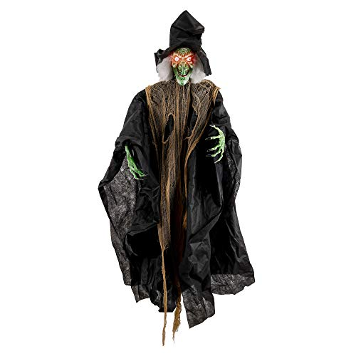 Halloween Haunters Hanging 7 Foot Scary Old Wicked Witch with Green Face and Evil Eyes Prop Decoration - Spooky White Hair, Long Black Hat - Huge Haunted House Graveyard Entryway Display