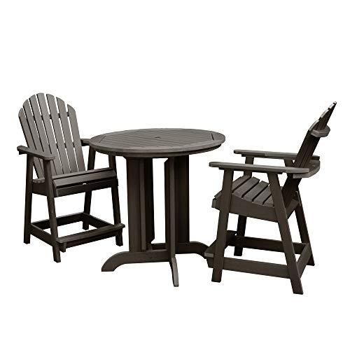 Highwood 3 Piece Hamilton Round Counter Height Dining Set, Weathered Acorn