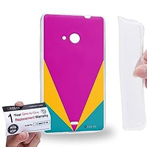 Case88 [Nokia Lumia 535] Gel TPU Carcasa/Funda & Tarjeta de garantía - Art Coral Colour Blocking Art1835