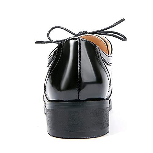 de para Mano College Cuero Brogues Cordones Hecho Nincyee Negro Zapatos Derby a Mujer Vintage 1qEWw1XFx7