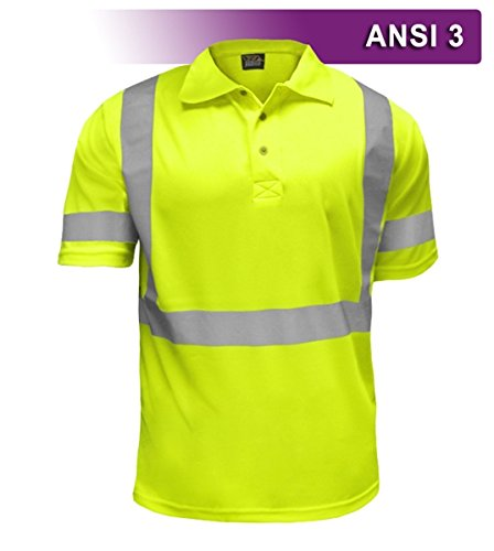Brite Safety Style 221 Hi Vis Polo Shirt | Short-Sleeve Safety Shirt | 3M Scotchlite Reflective Tape | Birdseye Moisture Wicking Fabric | ANSI Class 3 | for Men & ()