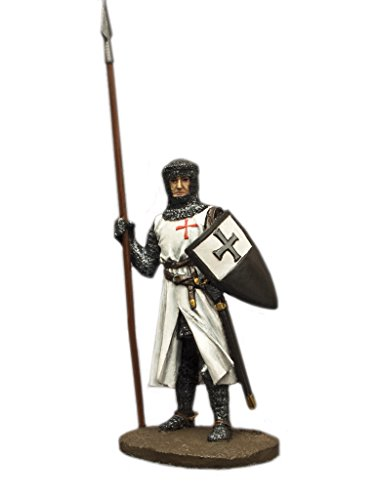 Knight Templar with Pike Middle Ages Hand Painted Tin Metal 54mm Action Figures Toy Soldiers Size 1/32 Scale for Home Décor Accents Collectible Figurines ITEM - Painted Hand Tin