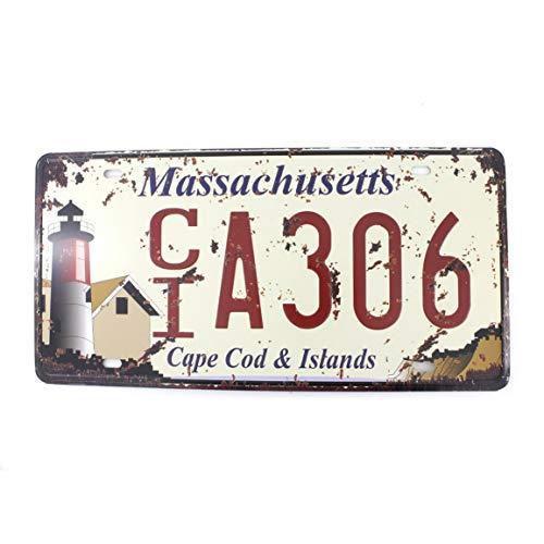 Souvenir Plate Wall (KPSheng 6x12 Inches Vintage Feel Metal Tin Sign Plaque for Home,Bathroom and Bar Wall Decor Car Vehicle License Plate Souvenir (Massachusetts CIA306))