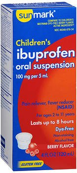 Sunmark Children's Ibuprofen Oral Suspension Dye-Free Berry - 4 oz, Pack of 3
