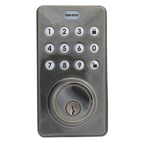 Tru-Bolt Electronic Keyless Deadbolt Lock with Keypad and Remote (Antique (Remote Keyless Door Lock)