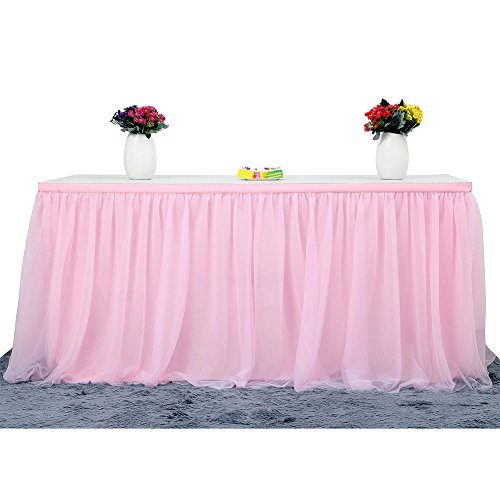 Table Skirt | 3 Yard Table Skirting, 4-layer Tulle and Chiffon Lining Table Cover for Wedding, Birthday, Baby Shower, Slumber Party, Girl Princess, Home Decoration, Party Supplies (Light Pink) (Light Pink Baby Shower Decorations)