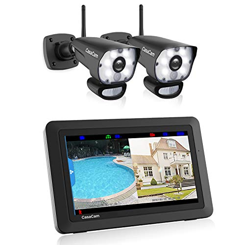 CasaCam VS1002 Wireless Security Camera System with AC Powered HD Spotlight Cameras and 7