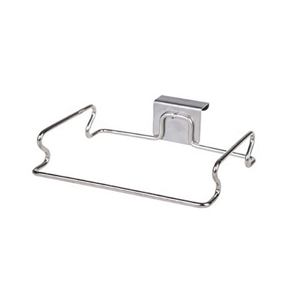 """Slendima 7.28"""" x 5.71"""" Kitchen Trash Bag Towel Cabinet Door Back Hanging Holder Rack Organizer - Stainless Steel Silver"""