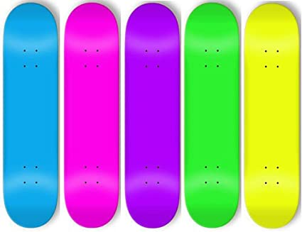 Amazon com : 5 Blank Skateboard Bright Neon Decks 8 In +