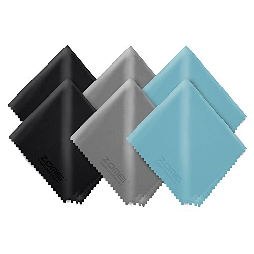 ZOMEi Microfiber Cleaning Cloths for Glasses, LCD Screens, Lenses, Camera, Cell Phone and Tablets (6 Pieces, 3 Colors)