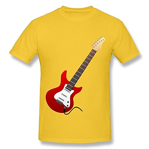 HD-Print Particular Electric Guitar Red T-shirt For Women Yellow Size L