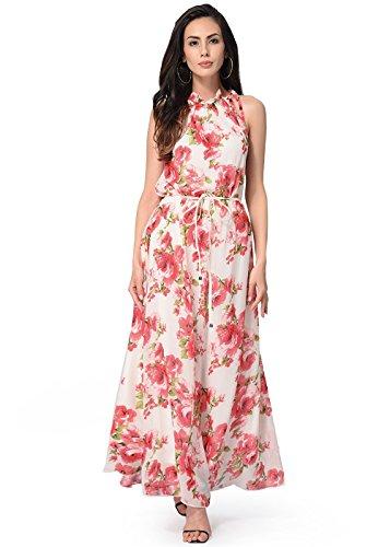 Buy belted chiffon print dress - 5
