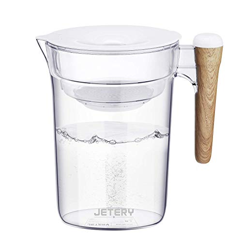 JETERY Water Filter Pitcher 10 Cup Long-Lasting Purifier with Wooden Handle, Fast Filtration with Patented ACF Military Technology, BPA Free Kitchen Home Office Use