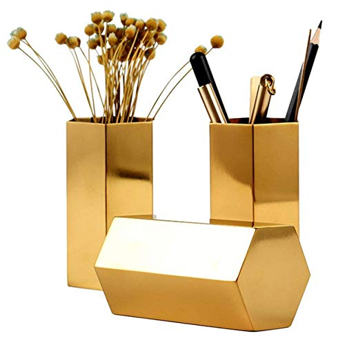 Pencil Holder Gold 2.5'' Metal Pencil Cup for Office,Home,School,Makeup Brush Storage 1 Pack by Allure Maek