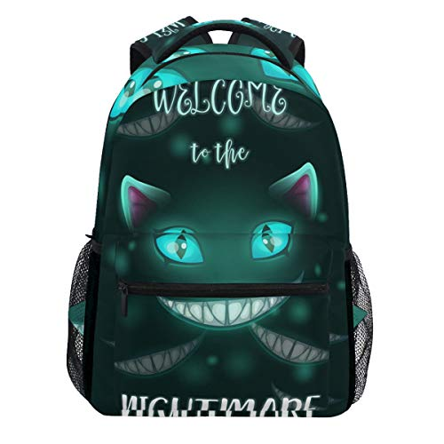 Scary Halloween Creepy Evil Cat Face Welcome to The Nightmare Backpack Bookbags Daypack Travel School College Bag for Womens Mens Teens ()