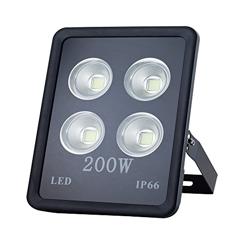 Musuger 200 watt Super Bright Outdoor High Power LED Flood Light with Fixture 17500lm Warm White 3500K Waterproof 85V-265V AC by Musuger
