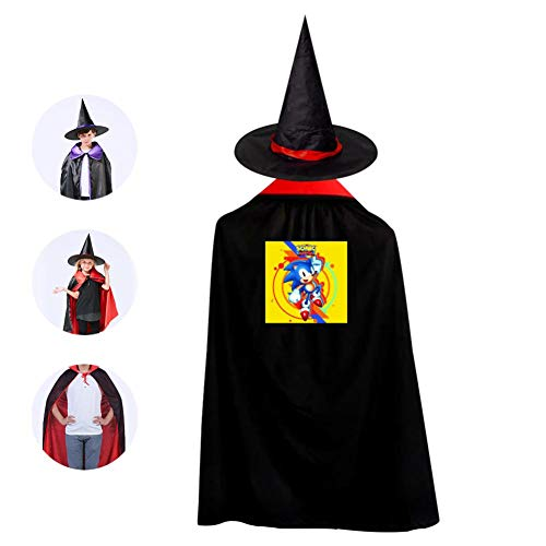 DIY So-nic Costumes 3D Printed Party Dress Up Cape Reversible with Wizard Witch Hat