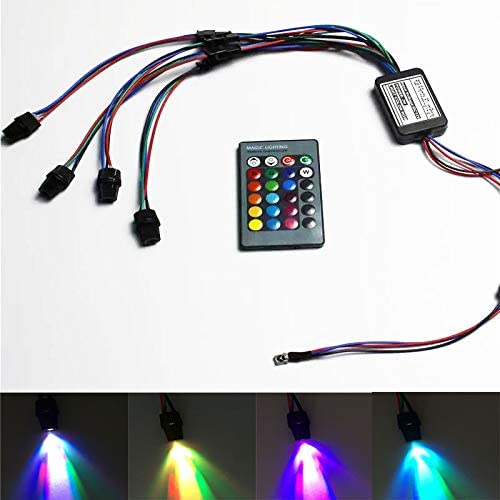 Mini IIIuminator Car Use 12V Four Heads LED Light Source 24Key IR Remote for PMMA Plastic Optic Fiber Side Glow Cable RGB