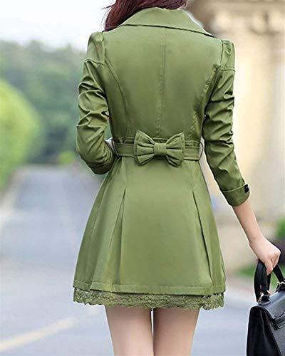 Grande Solapa Manga Encaje Botonadura Elegantes Fiesta Outwear Cinturón  Chaquetas Fit Casual De Chaqueta Con Slim Classic Doble Armygreen Moda Abrigos  Mujer ... 11560f48ebf2