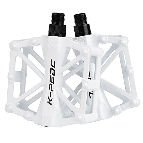 Boruizhen Bike Platform Pedals Lightweight Road Cycling Bicycle Pedals for MTB BMX (White)