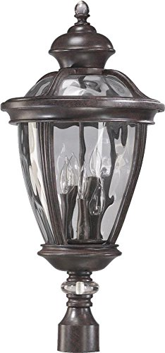 - Quorum-Five Light Baltic Granite Clear Glass Post Light-7221-5-45