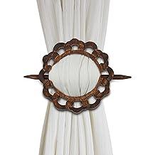 Decorative Wooden Curtain Tiebacks Set of 2 Window Treatment Holdbacks Drape Binds Hand Carved with Rustic Finish Home Decor