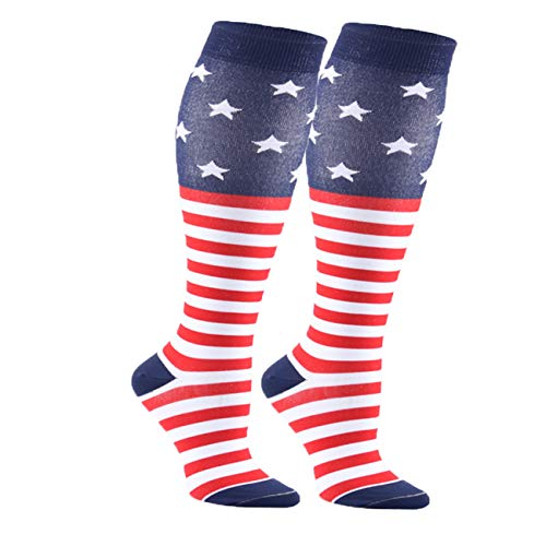 Compression Colorful Stars Stripes Socks Women Men Students High Performance (American flag/2 Pairs)