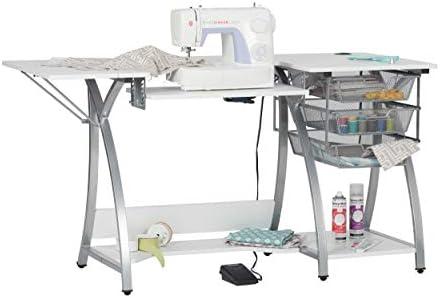 SD STUDIO DESIGNS W Mesa de máquina de Coser con 3 cajones de Malla de Alambre, Escritorio para Hobby, Manualidades, Ordenador o Oficina en casa, Marco de Acero con Recubrimiento en Polvo: