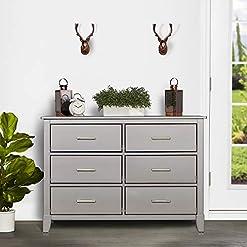 Bedroom Dream On Me Universal Double Dresser, Kids Bedroom Dresser, Six Drawers Dresser, Mid Century Modern, Metallic Grey modern dressers