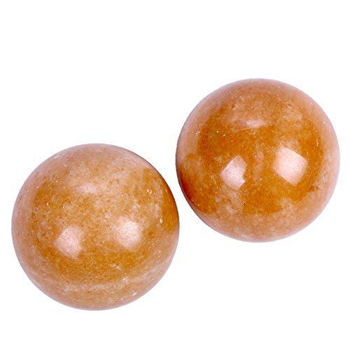 Brass Statu One Pairs Natural Marble Health Exercise Orange Baoding Balls (1.4'')